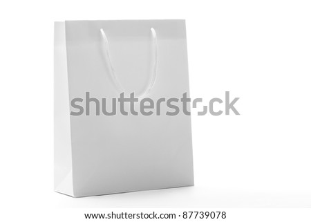 White Shopping Bag,Closeup.