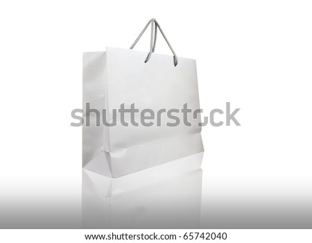 White shopping bag isolate - stock photo