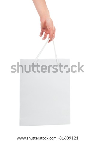 White Shopping Bag Isolated on a white background