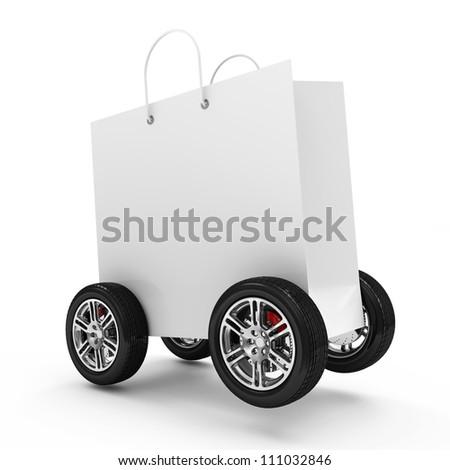 White Shopping Bag on Wheels isolated on white background
