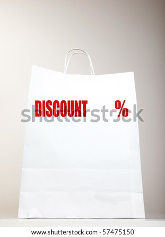 White Shopping Bag with DISCOUNT text