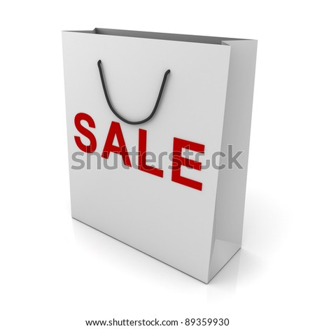 White shopping bag with red sale word on white background