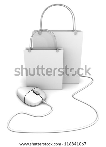 white shopping bags with computer mouse