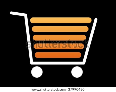 White shopping cart with a black background