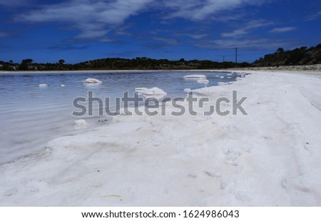 White shoreline of a salt lake
