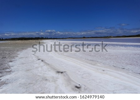 White shoreline of a salty lake