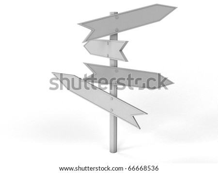 White signpost with lots of pointers on a white background â??1 - stock photo