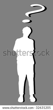 White silhouette of a man and a question mark, with black shadow