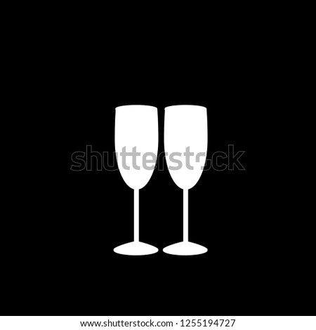 white silhouette of couple of champagne or wine glasses on black background. Monochrome illustration of two champaign glasses. Cheers icon. Fragile or packaging glass symbol, sign, clip art.