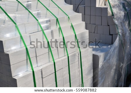 White silica bricks in a plastic packaging #559087882