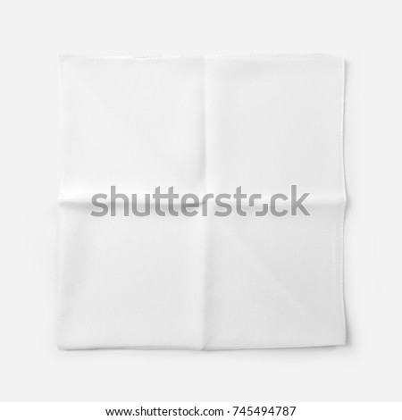 White silk scarf on white background with shadow. many views. Blank scarf. Blank silk. White silk. folded. in foil bag. mockup - Shutterstock ID 745494787