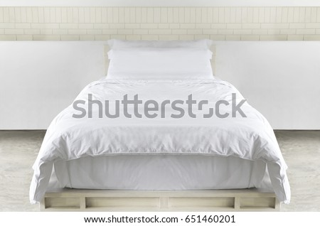 White single bed in Modern bed room  background