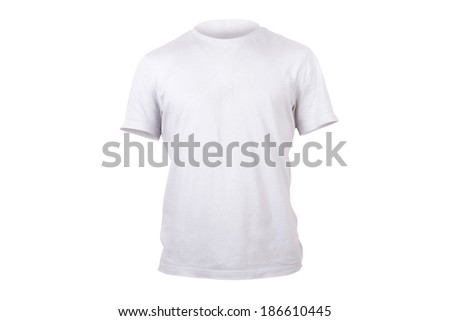 White single tshirt template for your design, front view, isolated on white background. #186610445