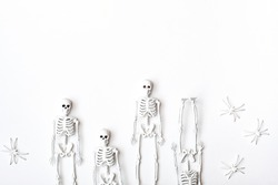 White skeletons and spiders on the white background. Minimalism style, monochrome flat lay. Concept of Halloween or Day of the dead.