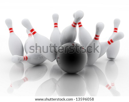 white skittles and black ball on white background, bowling