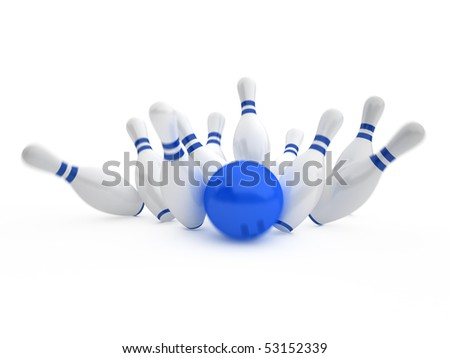 white skittles and blue ball on white background, bowling