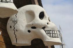 white skull made of cement