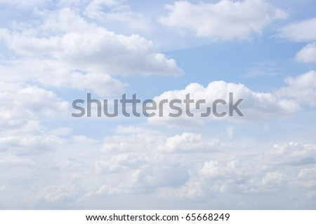 White Sky and Puffy Clouds