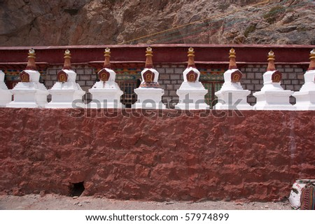 White small buddha temple in a row