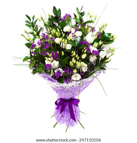 White small roses and violet purple flowers floral composition bouquet.