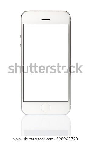 White Smart Phone Isolated on WhiteBackground