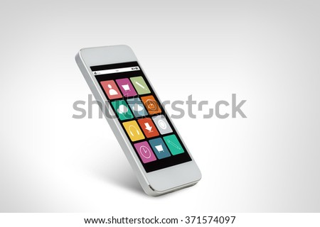 white smarthphone with application icons on screen
