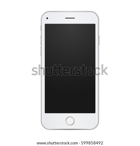 White smartphone in realistic 3d style, high detailed illustration. Silver mobile phone mockup with round button and camera.