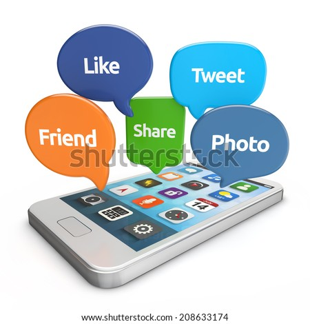 white smartphone with social media bubbles (like, tweet, friend, share, photo) isolated white background