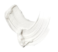 White smear of cosmetic cream isolated on white background.