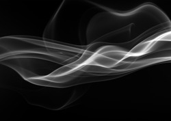 White smoke abstract on black background and darkness concept