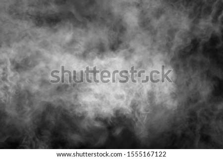 White smoke isolated on black background stock photo