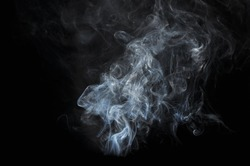 white smoke on black background, B&W, Movement of smoke