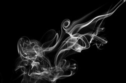 white smoke on black background, beautiful white smoke