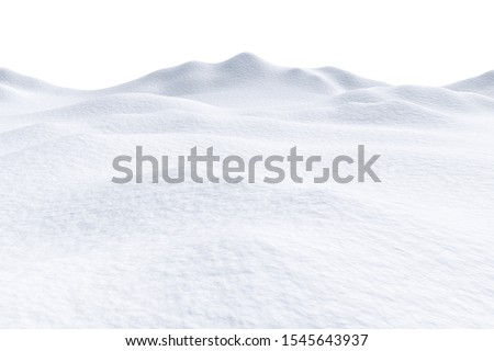 White snow hills and smooth snow surface isolated on white background, 3d illustration, winter landscape Stock photo ©