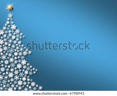 White Snowflake Tree on Blue Background