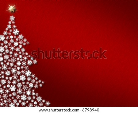 White Snowflake Tree on Red Background
