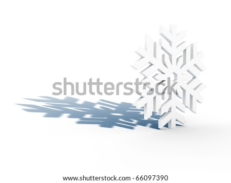 white snowflake background. stock photo : white snowflake with blue shadow on white background,