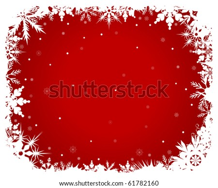 White snowflakes on a red background