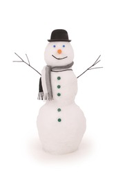 White snowman with scarf and hat bowler. On white background. Clipping path.