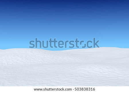 White snowy field under bright clear winter blue sky, winter snow background 3d illustration