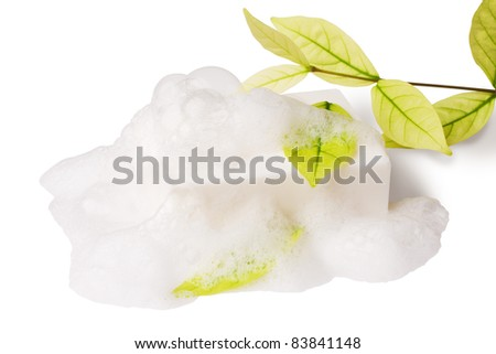 white soap and leaf on white with clipping paths
