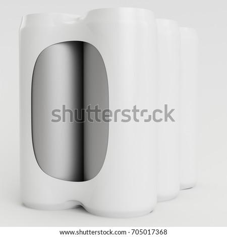 White Soda Shrinking 3D Render Front