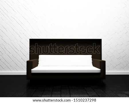 white sofa in the room, 3d rendering