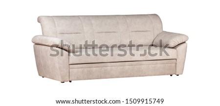 White sofa with cushion isolated