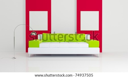White sofa with green pillows, chromed lamp and two empty white pictures on red.  3d rendered. Modern interior composition.