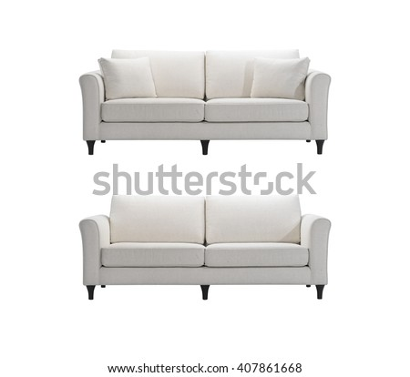 White sofas isolated with clipping mask.