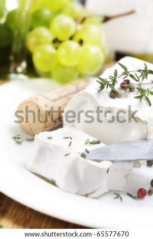white soft goat cheese and grape