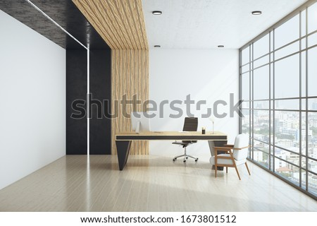 White spacious office interior with city view and daylight. Workplace and corporation concept. 3D Rendering