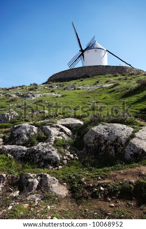 White spanish windmill in Castilla, Spain