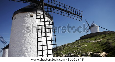White Spanish windmills in Castilla
